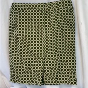 Ann Taylor Loft Green Geometric Skirt 8